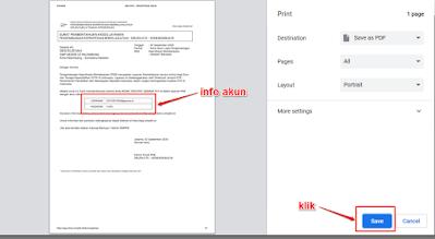 Lakukan cetak dokumen pemberitahuan Akses Layanan dengan klik tombol Save atau Simpan / tombol berwarna biru (Sesuai pengaturan browser Anda)