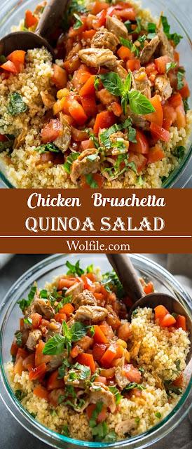 Chicken Bruschetta Quinoa Salad Recipe #Chicken #Salad