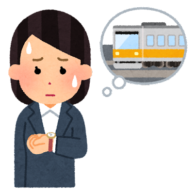 電車の遅延の心配をする人のイラスト(女性)