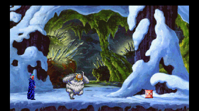 Screenshot from King's Quest V where King Graham throws a custard pie in a yeti's face