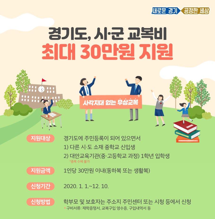 경기도와 시·군이 대안교육기관 신입생 무상교복 지원