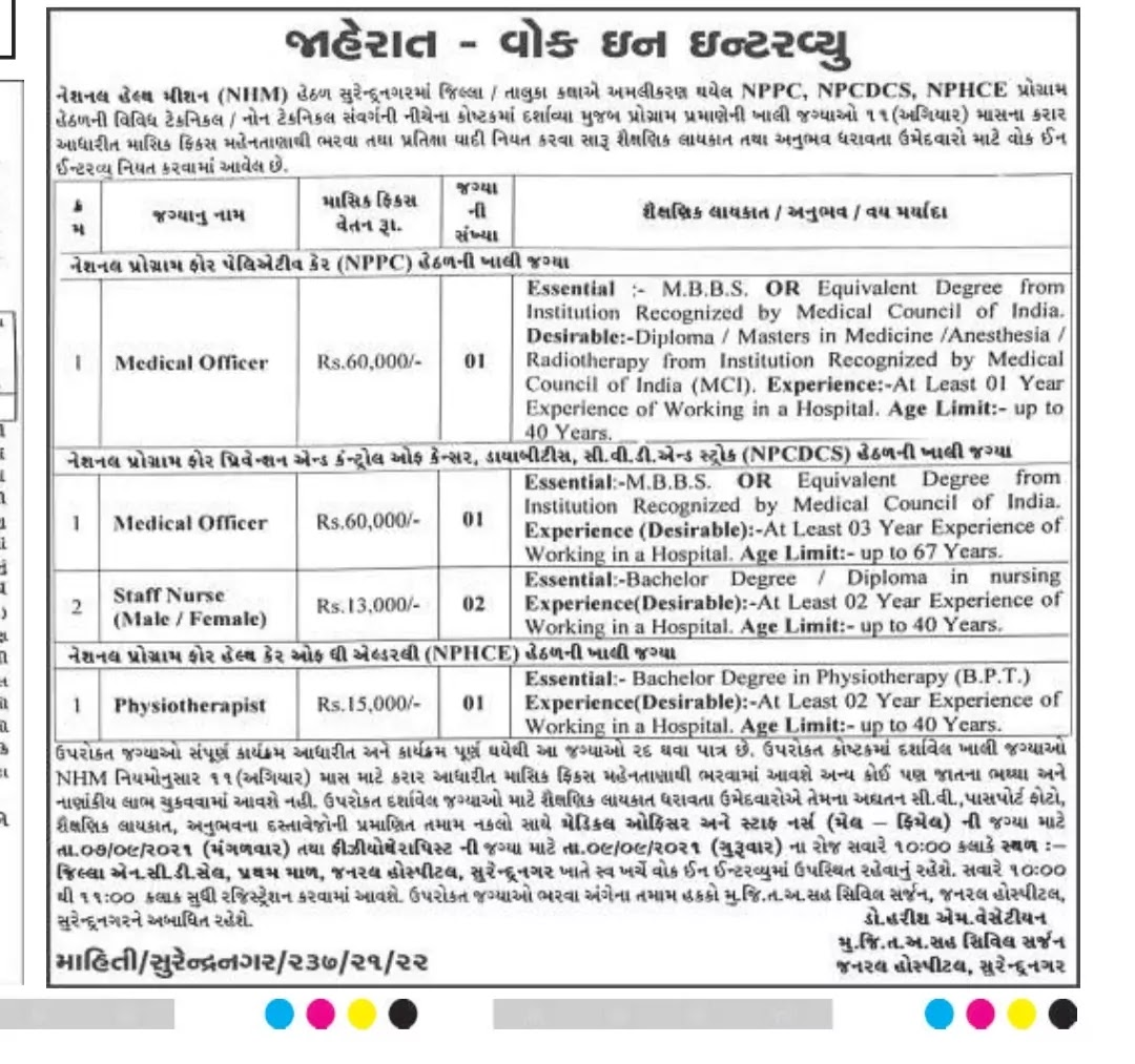 This is the official photo of NHM Staff Surendragar Recruitment 2021