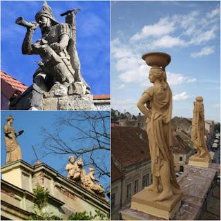 Vanatorul, pe Biserica Sf. Gheorghe; Femeia care citeste, pe str. Mihai Eminescu; pe Republicii