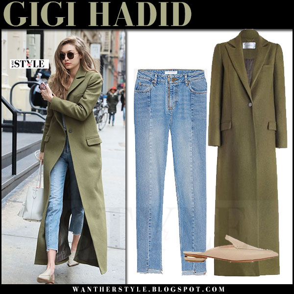 Gigi Hadid in lon green zimmermann karmic coat, cropped sandro jeans and leather mules nicholas kirkwood beya what she wore winter style