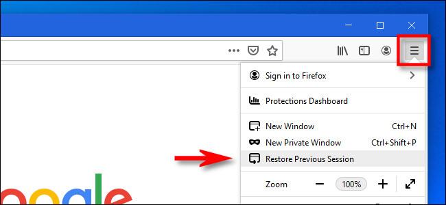 """في قائمة Firefox ، انقر فوق """"استعادة الجلسة السابقة""""."""