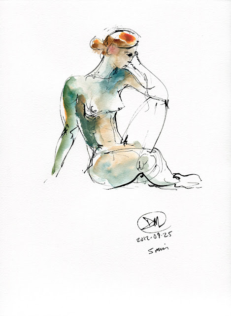 Watercolour nude study by David Meldrum