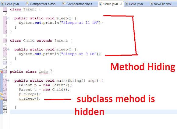 Java - Variable and Method Hiding Example