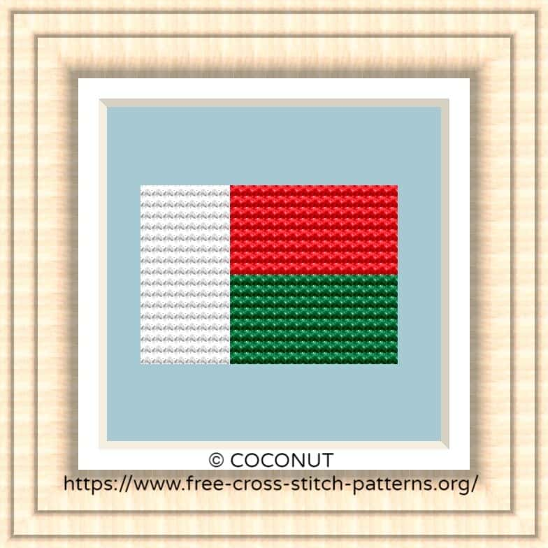 NATIONAL FLAG OF MADAGASCAR CROSS STITCH CHART