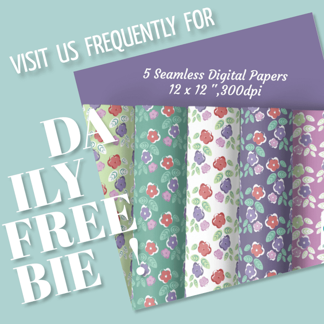 Daily Freebie Day 4 Digital papers with flowers