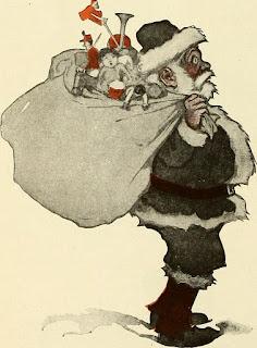 Papa Noel con un saco lleno de juguetes sobre su espalda