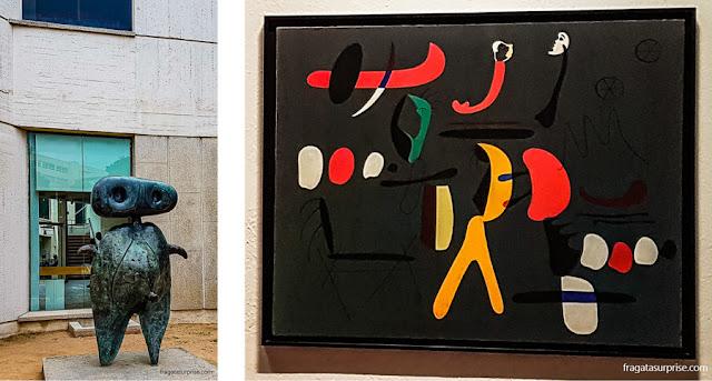 """A escultura """"Personagem"""" e """"Pintura"""", obras de Joan Miró"""