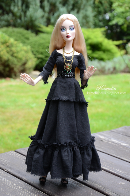 Black linen boho dress for a witch