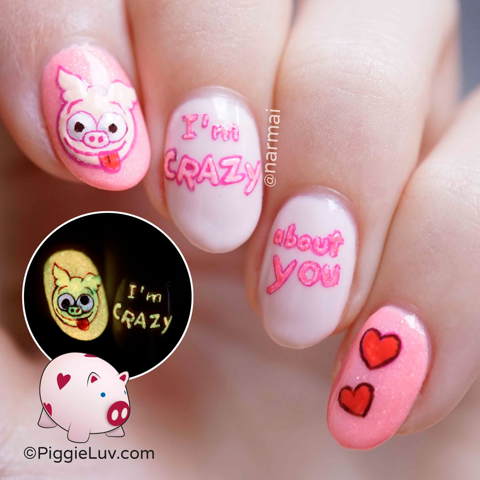 PiggieLuv: Crazy eyes pig nail art for Valentine's Day