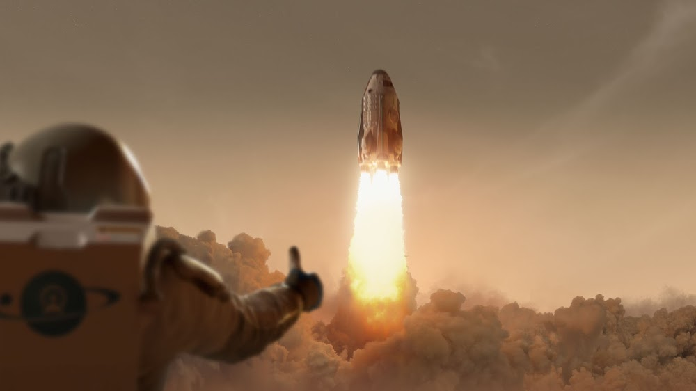 Mars ascent vehicle launch by Taylor James studio