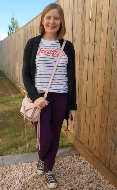 black cardigan, stripe tee, purple skinny jeans and blush cross body darren bag | away from blue