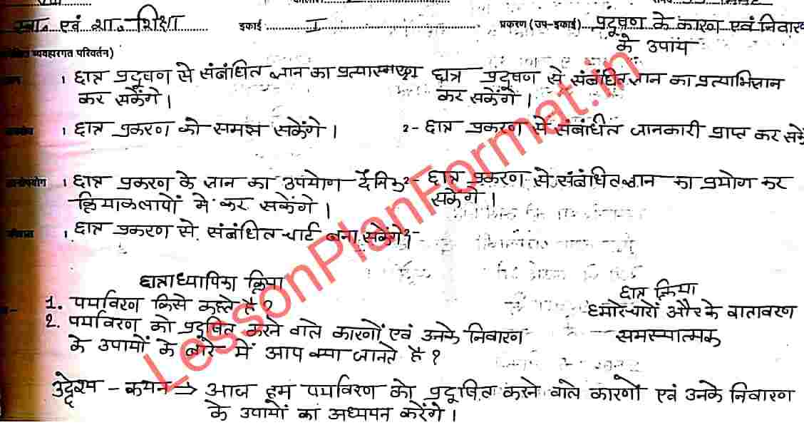 Lesson Plan on Pollution in Hindi