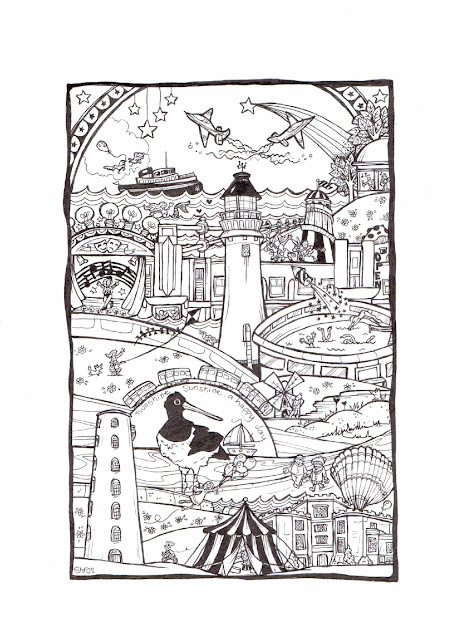 pen and ink humorous memory doodle drawing picture of the Wirral Peninsula, Leasowe and New Brighton, including the lighthouse and Floral Pavilion Theatre, Leasowe Castle, promenade and River Mersey with ferry boats