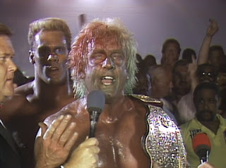 WCW / NWA Great American Bash 1989 -  Ric Flair covered in blood and Muta mist