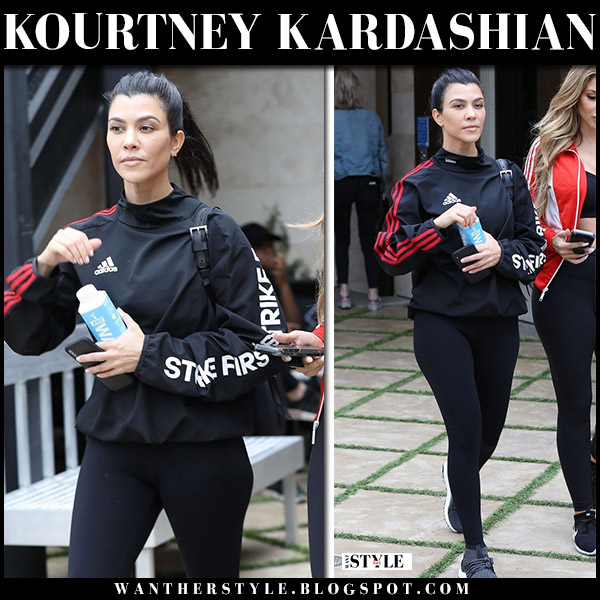 Kourtney Kardashian in black Kith X Adidas jacket and black leggings street style april 30