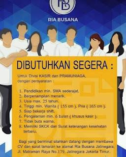 Info Lowongan Kerja Kasir dan Pramuniaga Ria Busana Jakarta