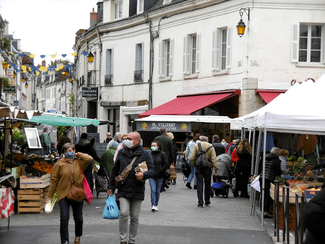 Loches market during Covid19 autumn 2020. Indre et Loire. France. Photo by Loire Valley Time Travel.