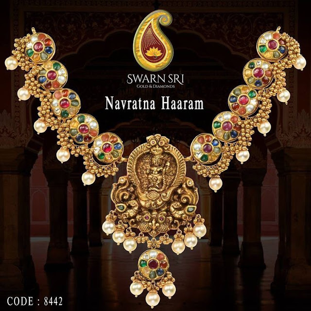 Navaratna Haram by Swansri Jewellers