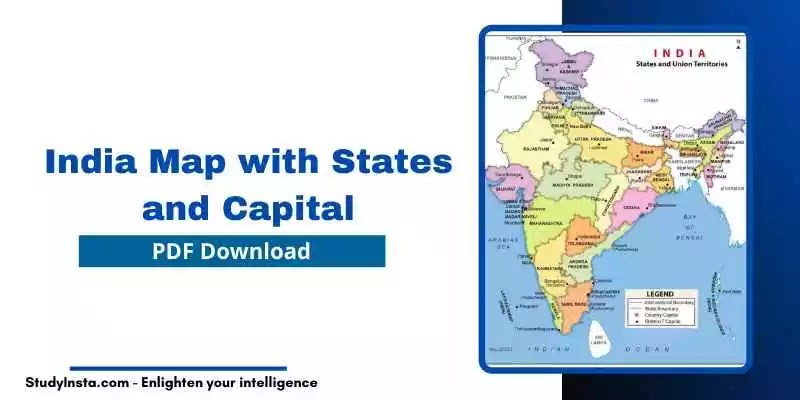 India Map with States and Capital PDF
