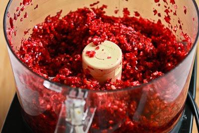 Trina's Low-Sugar Fresh Cranberry Salsa Recipe with Cilantro, Lime, and Jalapeno found on KalynsKitchen.com