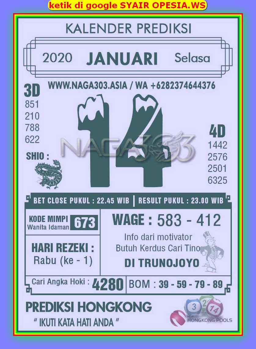 Kode syair Hongkong Selasa 14 Januari 2020 192