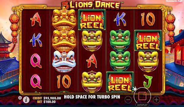 Main Gratis Slot Indonesia - 5 Lions Dance (Pragmatic Play)