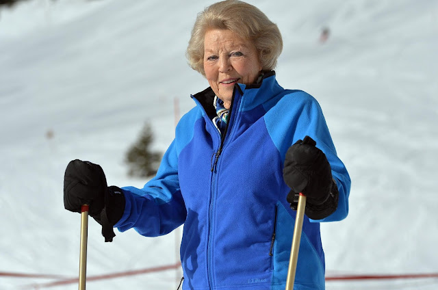 Princess Beatrix of The Netherlands attends winter ski holiday