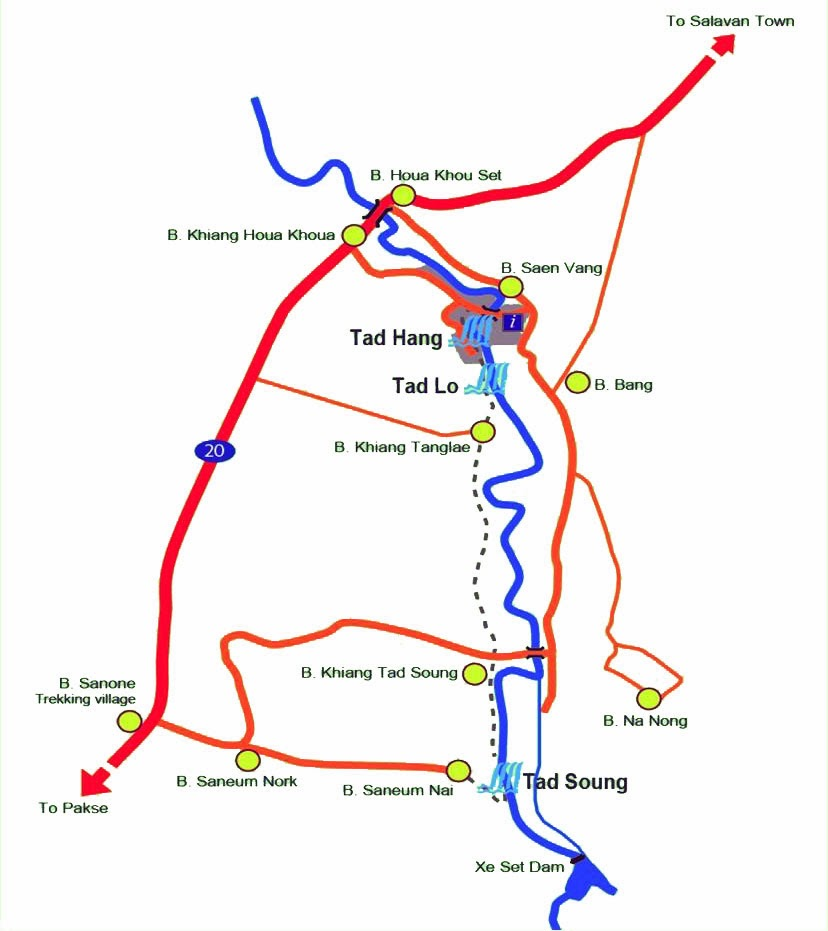 Mapa de las cataratas Tad Lo