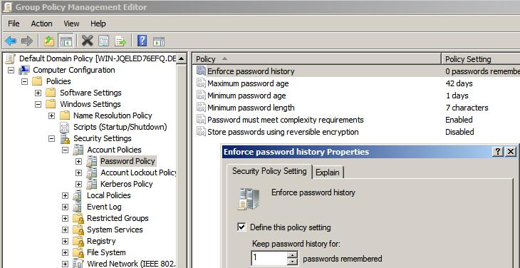 password length registry setting windows 7