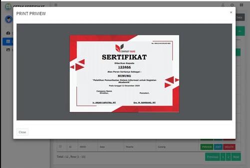 Program Cetak Piagam /Sertifikat Berbasiskan Website