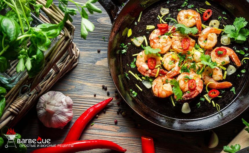 Шашлыки из овощей и креветок