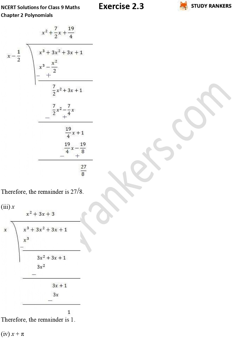NCERT Solutions for Class 9 Maths Chapter 2 Polynomials Exercise 2.3 Part 2