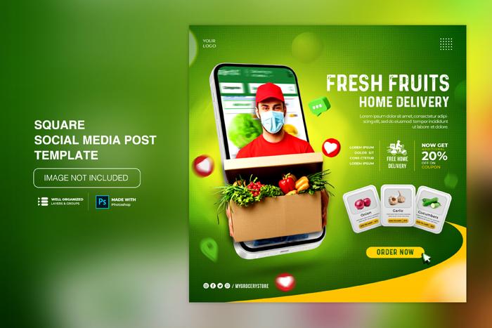 Vegetable Fruit Grocery Delivery Social Media Instagram Social Media