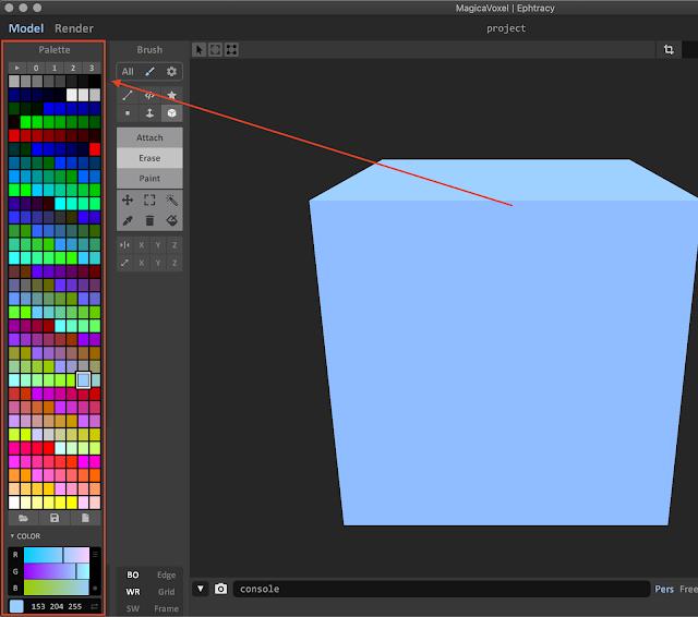 Palette Window in MagicaVoxel