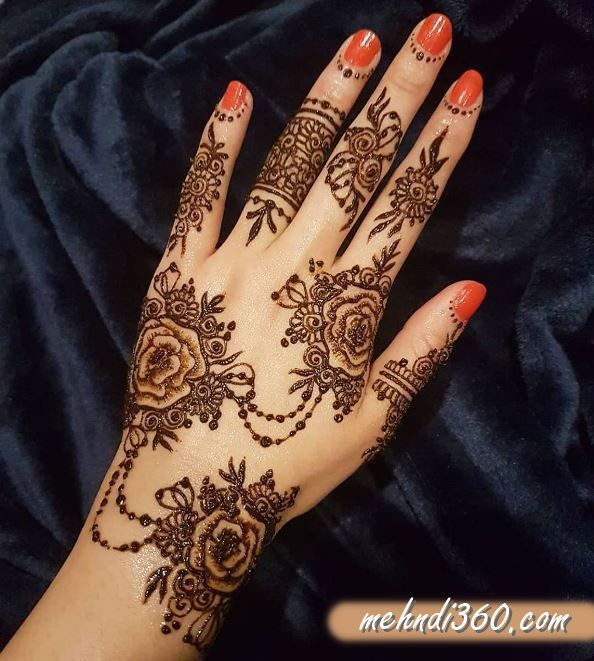 Simple Mehndi Design for Back Hand