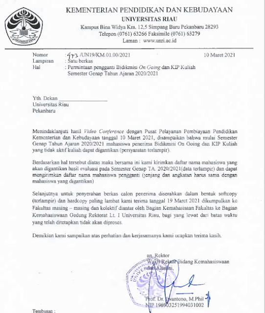 Ini Syarat Lengkap Beasiswa Bidik Misi On Going dan Kip Kuliah Pengganti Semester Genap TA 2020/2021 Universiats Riau