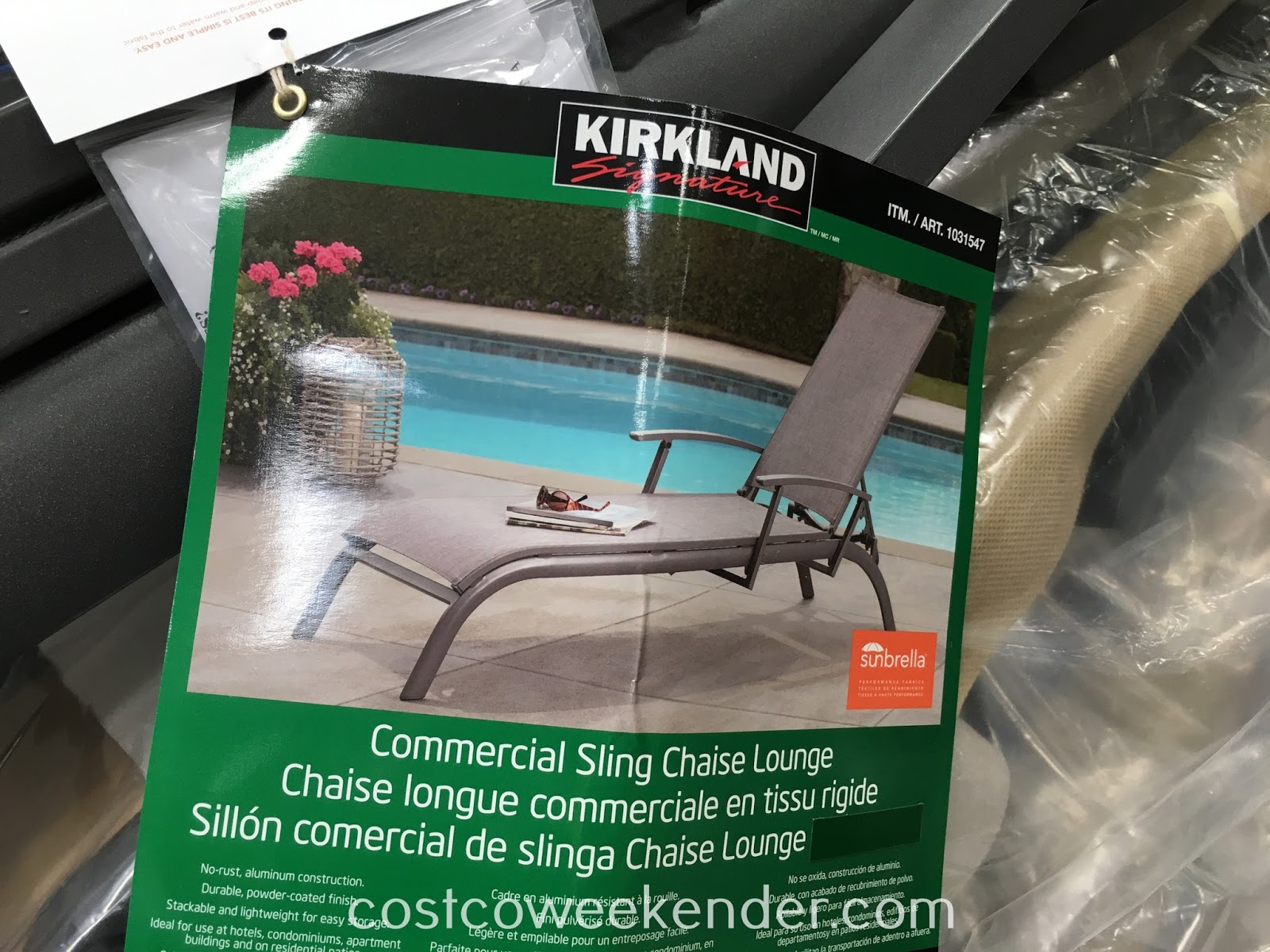 Relax in your backyard, patio, or by the pool on the Kirkland Signature Commercial Sling Chaise Lounge