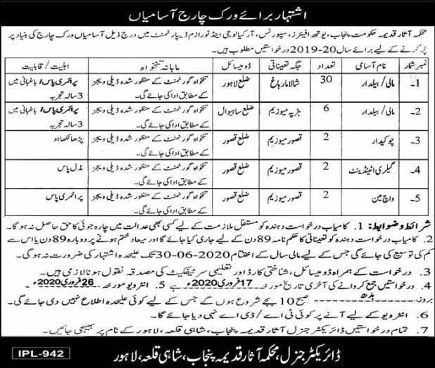 Department of Archeology Punjab Jobs 29 Jan 2020