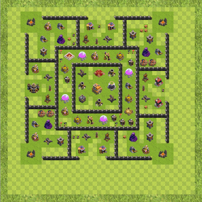 War Base Town Hall Level 9 By R-real (36 TH 9 Layout)