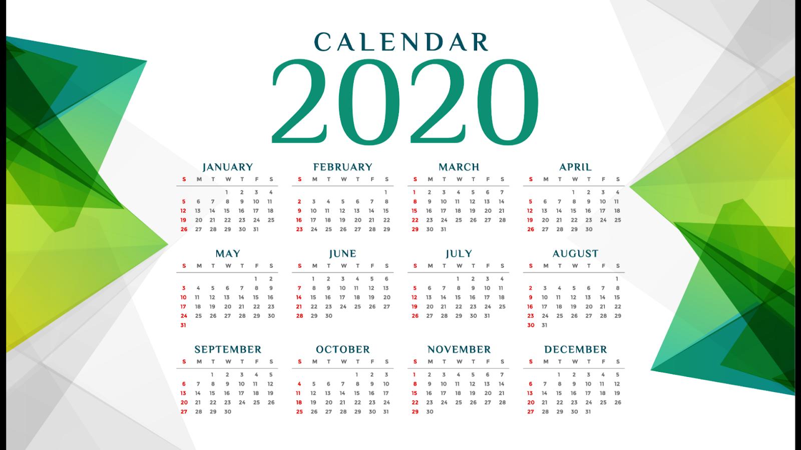 5 Template Kalender 2020 Vector CDR / Ai | Guru Corel
