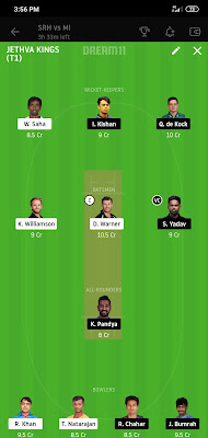 MI VS SRH Dream 11 Match 56 3 Nov 100% The Dream Team Winning IPL 2020