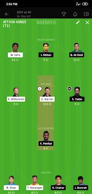 MI VS SRH Dream 11 Match 56 3 Nov 100% The Dream Team Winning IPL 2020
