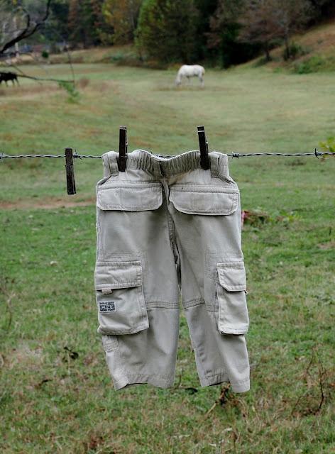 Pants hanging on clothesline
