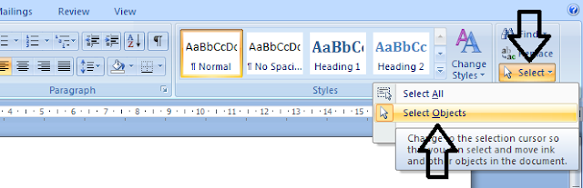 Memilih select objek untuk menyatukan shape/gambar microsoft word
