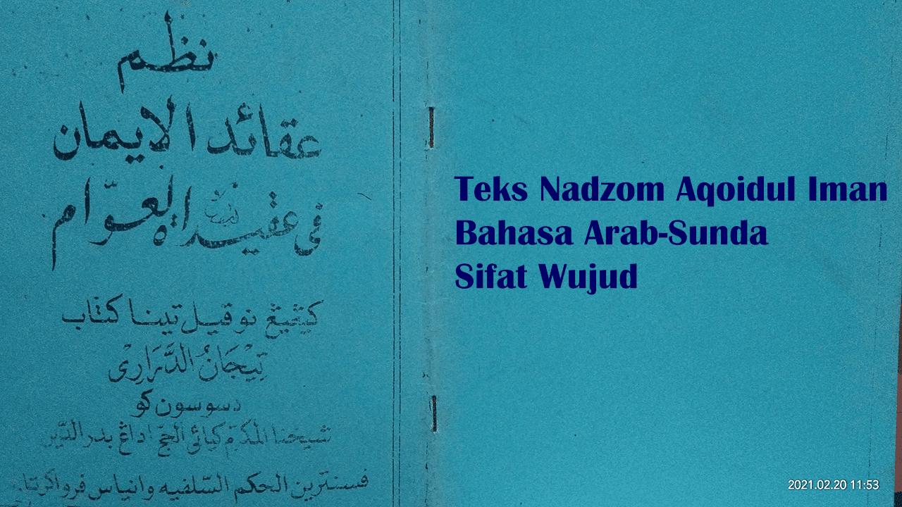 Teks Nadzom Aqoidul Iman Bahasa Sunda Sifat Wujud