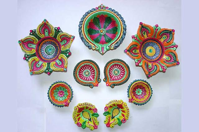 BEAUTIFUL DIYA DECORATION - Durga Puja Image Home Decoration Ideas on This Navratri